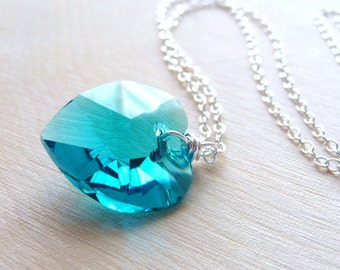 Blue Zircon Swarovski Heart Necklace, Wire Wrapped Crystal Glass Heart Pendant, Sterling Silver Necklace