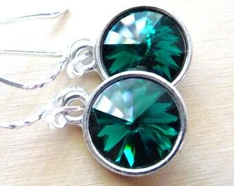 Emerald Green Earrings, Swarovski Crystal Briolette Rivolis, Sterling Silver Earrings, May Birthstone, Bridesmaid Gifts, Gift for Her
