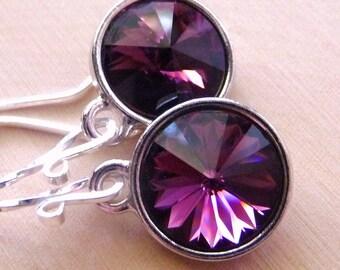 Amethyst Purple Crystal Earrings, Swarovski Amethyst Crystal Rivolis, Sterling Silver Earrings, Fashion