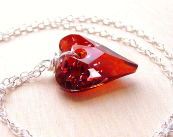 Red Heart Crystal Necklace, Swarovski Heart Pendant, Sterling Silver, Wire Wrapped Pendant, Valentines Day Gift, Gift for Her, Under 35