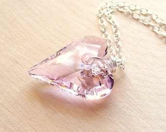 Heart Necklace, Pink Heart Necklace, Swarovski Necklace, Crystal Heart Necklace, Valentines Day Gift, Gift for Her, Girlfriend Gift, Rose