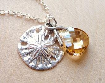 Ocean Sand Dollar Charm Crystal Necklace, Golden Champagne Swarovski Briolette, Sterling Silver Sand Dollar Charm Pendant, Christmas Gift