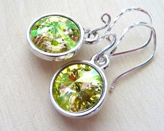 Spring Yellow Green Crystal Earrings, Green Yellow Peach Swarovski Rivoli Briolettes, Sterling Silver