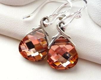 Peach Swarovski Crystal Earrings, Peach Rose Gold Swarovski Crystals, Sterling Silver Briolettes, Fashion, Bridesmaid Gifts