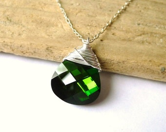 Swarovski Green Crystal Necklace, Dark Olive Green Swarovski Crystal Wire Wrapped Briolette, Sterling Silver Necklace, Christmas Gift