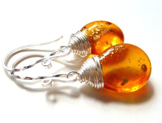 Handmade Earrings - Golden Speckled Honey Amber Czech Glass Teardrop Sterling Silver Dangles