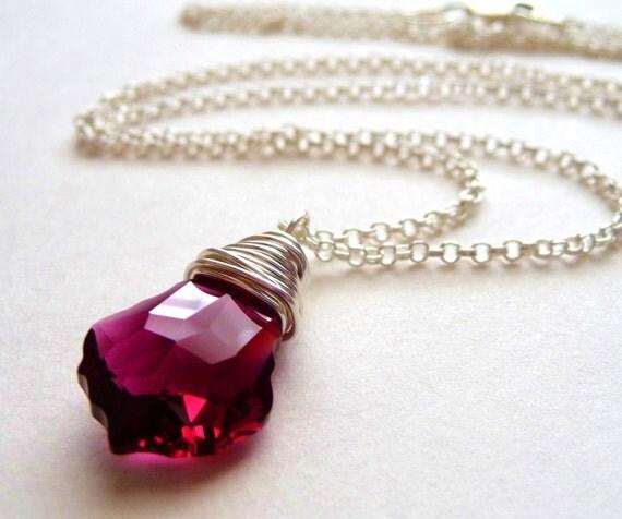 Handmade Cranberry Red Swarovski Crystal Baroque Pendant Silver Chain Necklace - Cranberry Splash