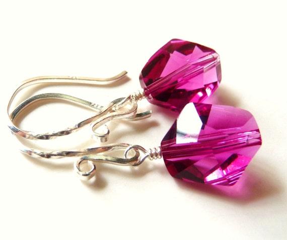 Fuchsia Crystal Earrings - Fuchsia Berry Red Swarovski Cosmic Cut Crystal Sterling Silver Dangles, JBMDesigns, Fashion