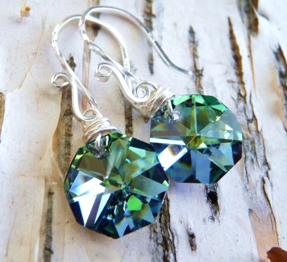 Crystal Earrings,  Sea Green & Blue Octagon Briolettes, Wire Wrapped, Sterling Silver, Ocean