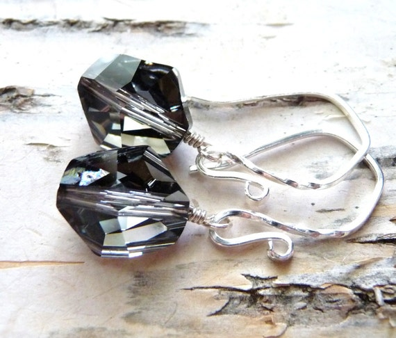 Swarovski Crystal Earrings, Starry Night - Silver & Black, Sterling Silver, Handmade, JBMDesigns, Black Earrings