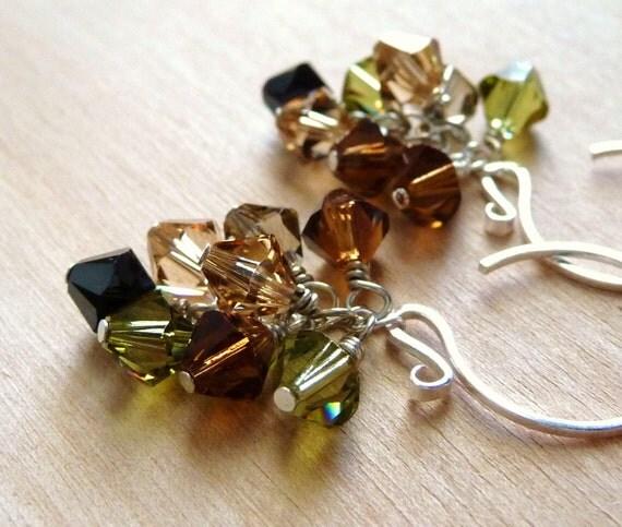 Safari Crystal Earrings, Swarovski Crystal Cluster Sterling Silver Dangles- Olivine Green, Smoked Topaz Brown, Golden Shadow, Jet Black