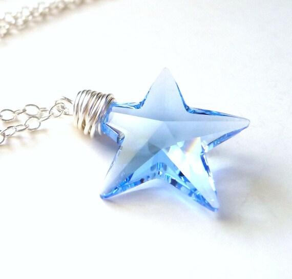 Blue Star Necklace, Light Sapphire Blue Swarovski Star Crystal, Sterling Silver, Handmade, JBMDesigns