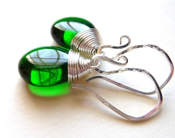 Emerald Green Earrings, Woodland Forest Green Czech Glass Teardrops, Sterling Silver, Wire Wrapped Earrings, May Birthstone