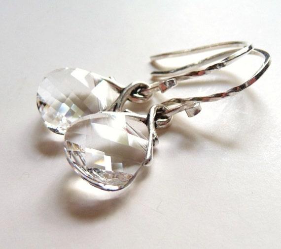 Crystal Earrings, Swarovski Earrings,  Clear Earrings, Ice Clear Glass Briolettes, Sterling Silver Earrings, Gift for Her, Teardrop Earrings