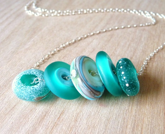 Handmade Necklace Teal & Turquoise Frosted Lampwork Disc Seaglass Beads on Sterling Silver