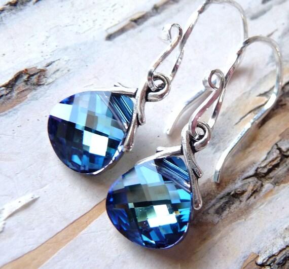 Ocean Blue Crystal Earrings, Aquamarine & Sapphire Blue Swarovski Crystals, Sterling Silver Briolettes, Fashion