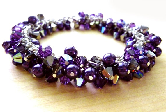 Swarovski Purple Cluster Bracelet, Crystal & Pearl OOAK, Sterling Silver - Purple Velvet, Rich Purple, Aurora Borealis, Fashion