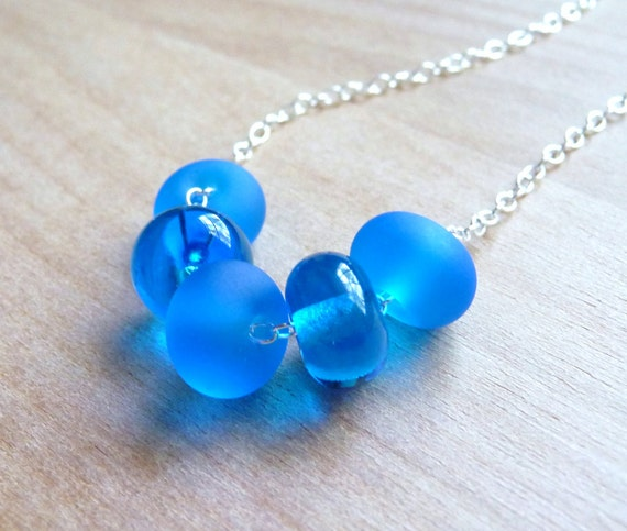 Blue Lampwork Necklace, Vibrant Blue Frosted Lampwork Glass Beaded Necklace, Sterling Silver Necklace