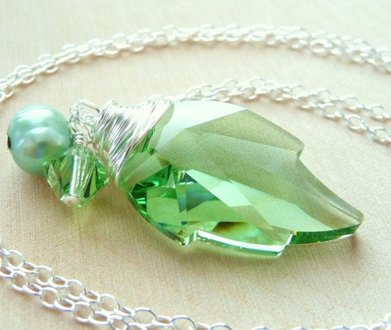 Spring Green Leaf Crystal Necklace, Swarovski Crystal Peridot Light Green Leaf  Wire Wrapped Pendant, Sterling Silver, Fashion