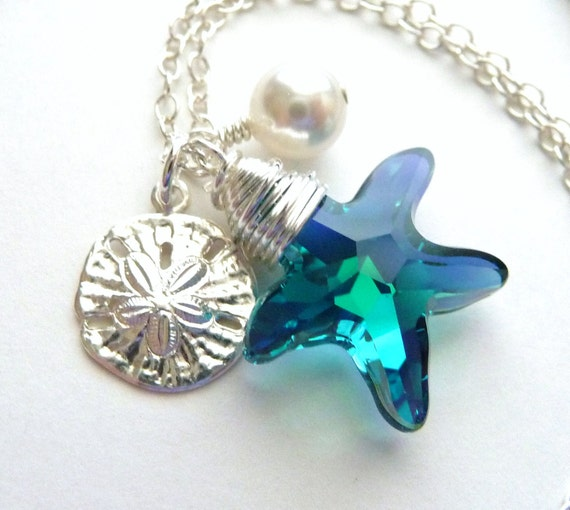 Starfish Crystal Charm Necklace, Swarovski Teal Blue, Sand Dollar, White Pearl Wire Wrapped, Sterling Silver, Bridesmaid Necklace
