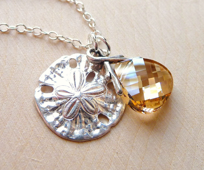 Ocean Sand Dollar Charm Crystal Necklace Golden Champagne