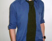 Dark Green Knit Tie Boyfriend gift necktie valentines gift idea