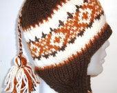 Knit Brown Hat with Earflap Hand Knit Hat