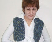 Hand knit vest, Womens Vest, Sweater in Blue / grey / Green-ready to ship