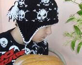 Skull Knit Hat, Womens Hat, Womens Accesories, Ear flap Hat, Winter Fashion wool black