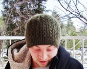 Hand Knit Hat, Mens Hat in Military Green Winter Man Fashion Accessories  - WINTER SALE