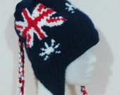 Australia Flag Hat for Womens Hat with Ear flap Hand Knit Winter Travel Accessories Australian gifts for Her womens gift under 50 dollar