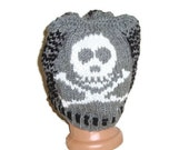 Skull Knit Beanie Hat Ouirky Knitted Skull Hat Pirate hat for Mens Beanie Mens Hat gray black white odd gifts
