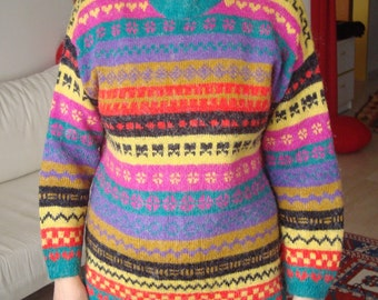 vintage 1980s flower pattern hand knit sweater winter ski boho hippie clothes chic top red yellow black green purple pink