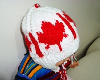 Canada Hat Baby Hat Hand Knit 6 to 12 Month Baby Canadian Flag Earflap Beanie Hat - Babies Hat  - WINTER SALE
