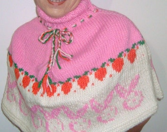 Bunny easter wedding shawl capelet poncho sweater easter gift for womens hand knit