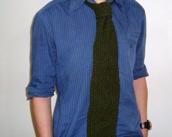 Dark Green Knit Tie Boyfriend gift necktie mens gift idea, father gifts