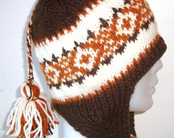 Hand Knit Hat for Mens, Womens Hat with Ear Flap Winter Hat in Rust, Cream and Brown Hat