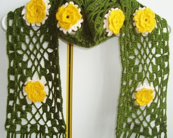 Womens Scarf / Floral Scarf / Crochet Scarf in Yellow Green Scarf / hippie gifts for women