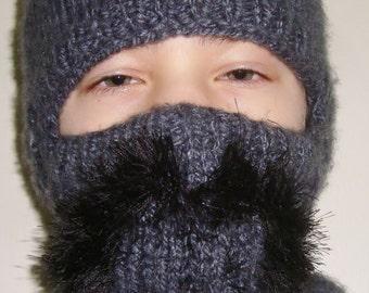 Mustache, full face mask, Hat, Full Face Hat, Teen Boy Gift, Winter Hat, Hand Knit Hat, Grey Ski hat, Teen Boys Hats, hunter gifts for women