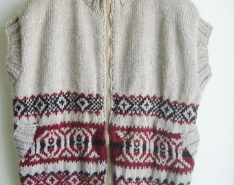 Hand Knit Men's Sweater Vest Sleeveless Cardigan 4XL to 5XL Extra Large Big Plus Size Mens clothing Gift idea