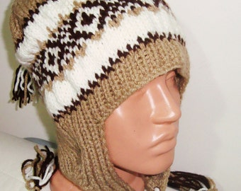 Beige Mens Hat Men's Winter Hat with Earflap in Beige, Brown, Cream Hand Knitted Men Hat, Mens Gifts for Him