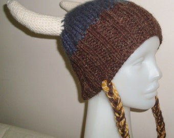 Womens Viking Knit Hat - Women's Hat or Teens Viking Hat - Grey, Brown, Cream Horns