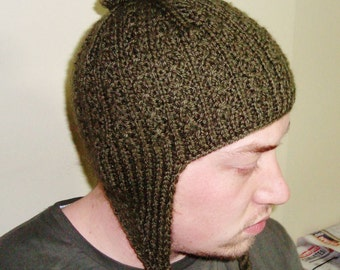 Hand Knitted Hat Mens Hat with Ear Flap Hat in Military Green with Pom pom hat