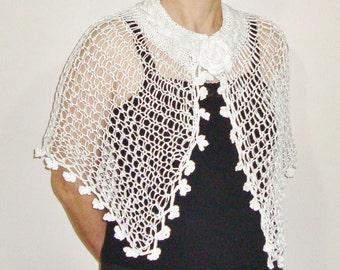Simple Bridal Shawl, White Shawl, White Knit Shawl, Hand Knit Shawl, Wedding Simple Shawl, Bride