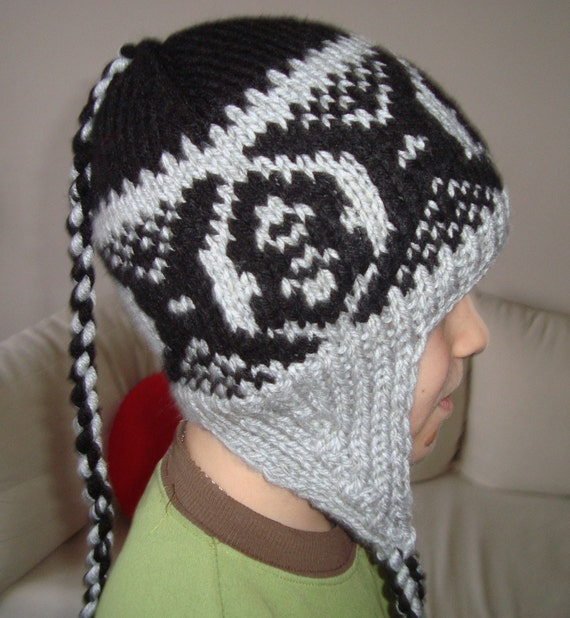 Hand Knit Mens Hat The Ear Flap in Grey and Black