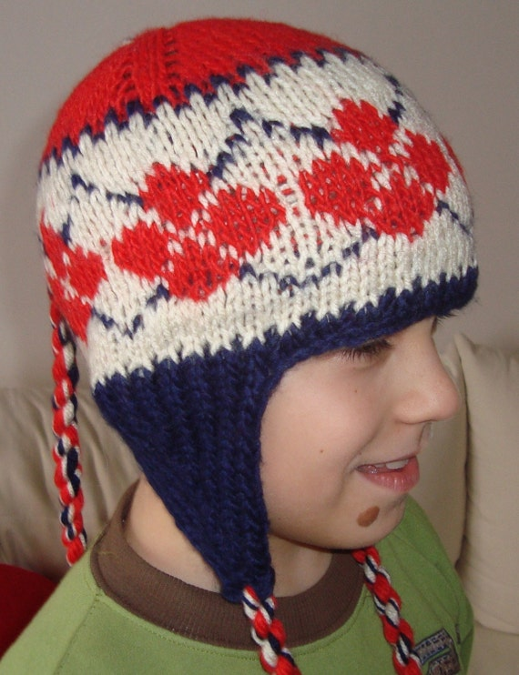 Hand knitted 6 to 12 Month Kids Earflap Beanie Hat - red, blue, cream