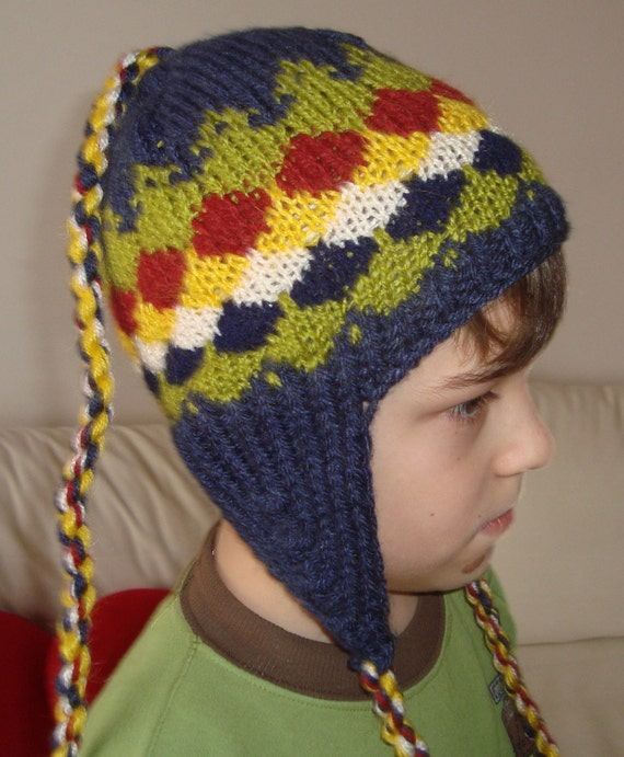 Knitted 2T to 4T Toddler Earflap Beanie Hat - yellow,  vanilla, sand, air force blue, pistachio green