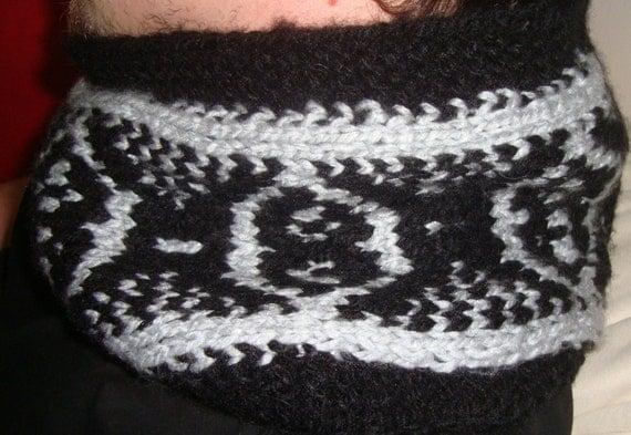 Cowl Mens Scarf in Black Grey Scarf Fair isle Knit Mens Scarf boyfriend gift