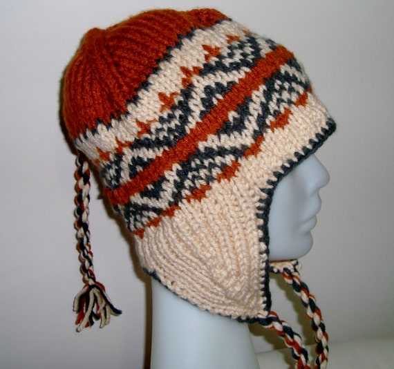 Hand knitted,  Earflap, Adult Hat, Ready to Ship