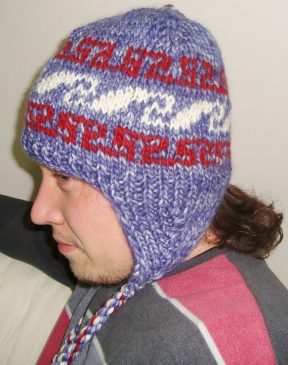 Hand Knit Hat Mens Hat with Ear Flap Hat in Blue Red White